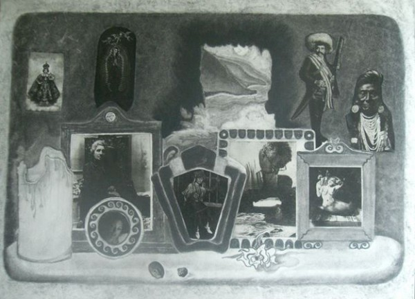 Altar to My (Mother's) Family --mixed media on paper