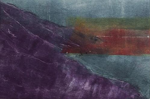 Big Sur Cold Winter Sunset - monoprint - by Cynthia Rand-Thompson