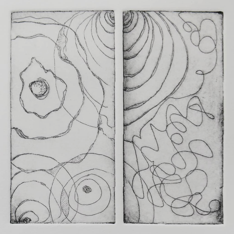 Intuitive Map, copper plate intaglio diptych, 6 x 6 inches - by Cynthia Rand-Thompson, fine artist